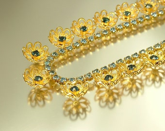 Vintage/ estate jewelry 1950s/ 60s gold plated filigree and blue diamante rhinestone/ paste flower costume necklace - jewelry jewellery