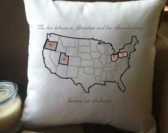United States Pillow Etsy - Us map pillow