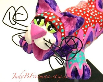 Cat Sculpture with Stand Polymer Clay Flying Painted Whimsically  CTP0001