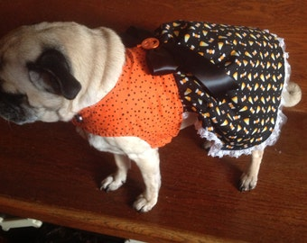 Happy Halloween - Pug or Small Dog one of a kind dress