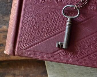 Antique Skeleton Key Necklace - Vintage Key Necklace - Copper - Mens Necklace - Rustic Key