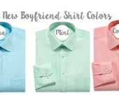 Oversized Boyfriend Men's Shirts for Bridal Parties and College Co-ed's in Aqua, Mint and Coral - bridesmaids button down shirt - monogram