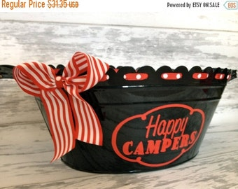 ON SALE custom personalized oval ribbon tub with handles in black