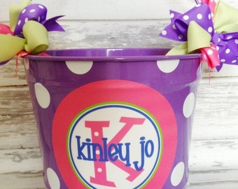 ON SALE personalized 10 QUART bucket in purple, pink and green