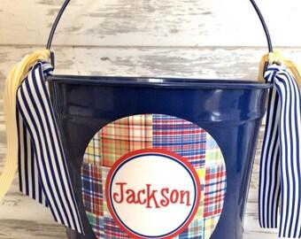 ON SALE custom personalized 10 QUART name bucket with preppy plaid boy design