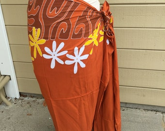 Rust, brown, yellow and white tattoo tiare premium Tahitian pareo, pareau, sarong, lavalava, tahitian dance