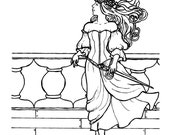 Downloadable coloring page Queen Rum steampunk pirate fantasy art