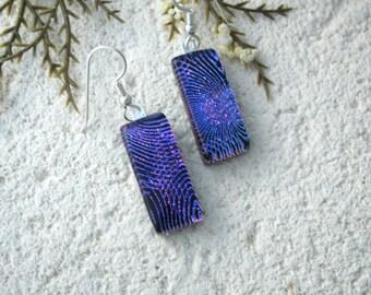 Pink Purple Earrings, Dichroic Earrings, Dichroic Jewelry, Fused Glass Jewelry, Dangle Drop Earrings, Sterling, Purple Earrings, 062216e104