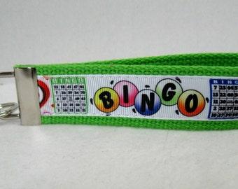 BINGO Key Fob - BINGO Key Chain - Bingo Lover Gift - Bingo Key Ring - LIME Green