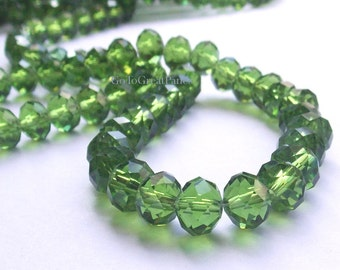 144 6x8mm Green Crystal Beads, Faceted Rondelle, 2 Strands, 72 pieces/ strand, Olive Green Glass 6x8mm, Hole 2mm, Crystal Bead, 8x6mm
