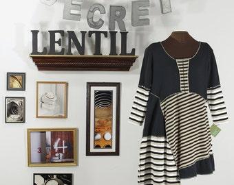 black, tan, white, striped, asymmetric upcycled tunic Extra Large