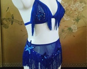 Made to order fringe knickers and triangle bra burlesque set/lingerie
