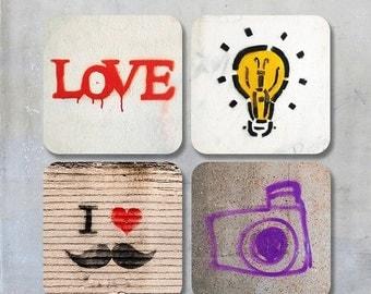 Graffiti Photo Coasters - Four square photo coasters 9x9 cm photographs street art graffiti urban city walls stencil