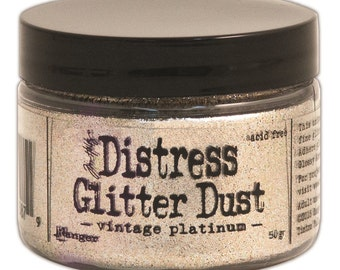Ranger Ink Tim Holtz Distress Glitter Dust Vintage Platinum tdr49753