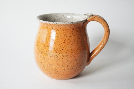 Speckled Orange Pottery Mug - Ceramic Coffee Cup - 16 oz - Ready to Ship