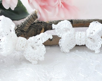 "Crochet Butterfly Hair Clips, White Cottage Chic Lace Hair Clips for Girls, Women, 2 1/2"" Hair Clip Accessories, Set of 2"