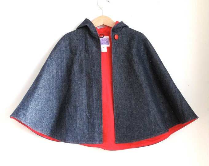 Denim Boys or Girls Warm Winter Hooded Cape with Red Flannel Lining - Size 5/6 - Cape, Cloak, Coat, Jacket, Capelet, Hoodie