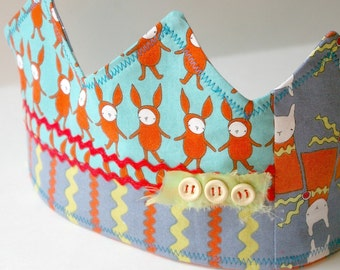 Rabbit Friends Birthday Crown: Patchwork Fabric Dressup Toy for Kids Age 2 and Up