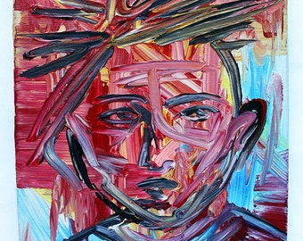 Kid Brother 8x10 abstract acrylic painting