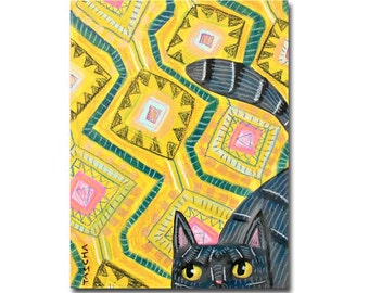 Gray Cat on a wild RUG! Can you dig it? CAT folk art painting by Canadian Artist Tascha Parkinson