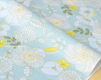 Japanese Fabric retro garden - aqua - 50cm