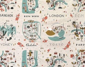 Cotton + Steel Les Fleurs canvas - city maps - neutral - 60cm panel - PRESALE