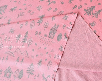 Japanese Fabric Fox Forest Interlock Knit - pink - 50cm