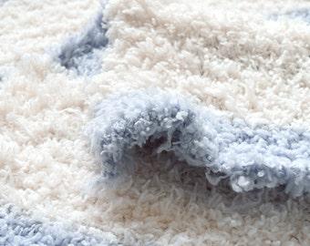 Japanese Fabric Fluffy Fleece Knit - blue, white - 50cm