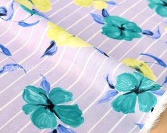 Japanese Fabric single gauze - floral stripes - D - 50cm