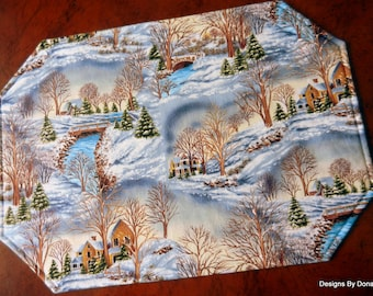 One or More Quilted Reversible Placemats, Winter / Christmas Scene on One Side, Other Side is of Swirling Feathers, Handmade Table Linens