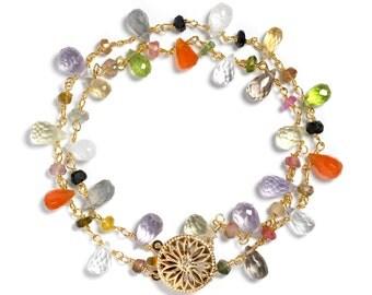 Gemstone Double Strand Bracelet, Colorful Stone Bracelet, Natural Stone Bracelet, Carnelian, Peridot, Moonstone, Amethyst, Tourmaline