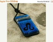 zodiac Pendant leo sign Blue Dichroic Glass Pendant with Greek leather cord valentines day sale