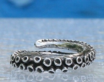 Octopus tentacle jewelry, Sterling Silver Tentacle Ring,  adjustable tentacle by Zulasurfing
