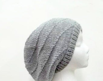 Gray slouch hat, swirl knitted men or women large size 5213
