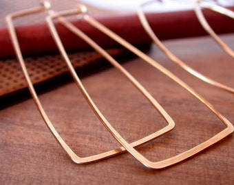 Rectangle Hoops. Silver Hoops. Gold fill Hoops. Rose gold Hoops. Lightweight Hoops.
