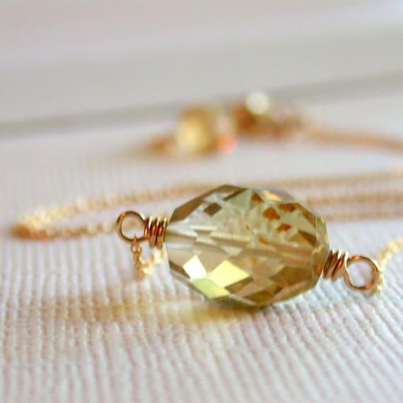 Sale. Golden Nugget Necklace. Honey quartz Necklace.  Simple Necklace. Layering Necklace. Minimalist Necklace.