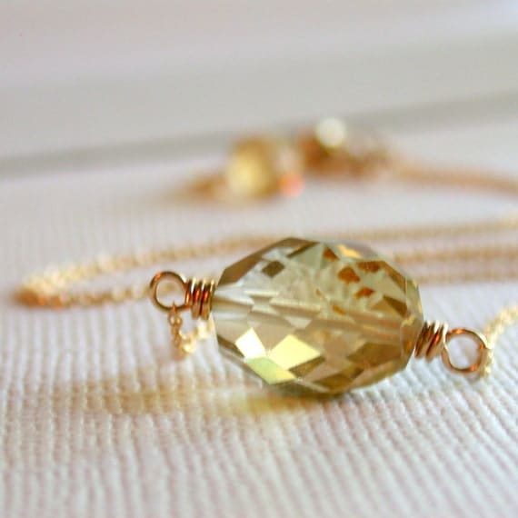 Golden Nugget Necklace. Honey quartz Necklace.  Simple Necklace. Layering Necklace. Minimalist Necklace.