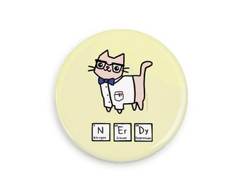 Cute Pinback Button Nerd Gift Nerdy Science Cat Periodic Table Cute Cat Magnet Pin Badge