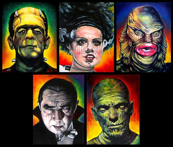 "Prints 8x10"" - Monsters - Classic - Set of 5 - Horror Dark Art Frankenstein Dracula Mummy Wolfman Vintage Spooky Halloween"