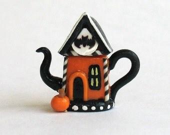 Handmade Miniature Fairy Whimsy Halloween House Teapot by C. Rohal