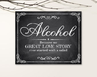 Printable Wedding Signs, Chalkboard Wedding Signs, Alcohol Wedding Signs PDF, JPG files - Chalkboard