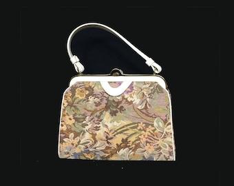 Vintage Bag, Handbag, Tapestry, Ivory Faux Leather Handle and Trim, Vendi, 1960s