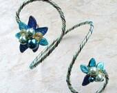 ON SALE Art Nouveau Blue Bracelet Arm Band, Bridal Body Jewelry Arm Cuff