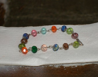 Multi colored crystal (not plastic) bracelet (fun and colorful)