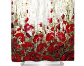 Floral Art Shower Curtain- red poppies