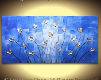 ORIGINAL Blue Abstract Painting Cobalt Blue Landscape Tulip Silver Large Modern Wall Art Thick Texture Palette Knife Oil Painting Susanna