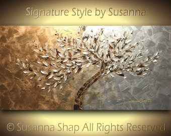 ORIGINAL Large Abstract Metallic White Leaves Tree Textured Impasto Landscape Home Decor Modern Palette Knife Painting 48x24 ~Susanna