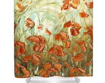 Designer Shower Curtain Art- abstract amber orange blue poppy landscape, modern interior design, bathroom home decor from Susanna's art