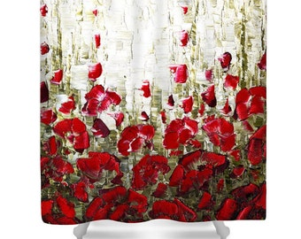 Floral Shower Curtain- red poppies shower curtain art