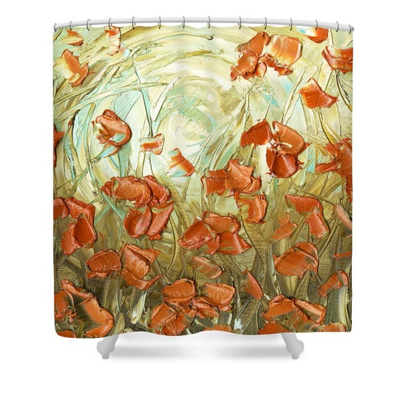 Amber Blue Orange Shower Curtain Floral Art By ModernHouseArt